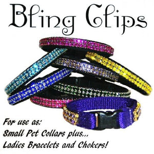 Our bling clips can be used as pet collars, ladies chokers and bracelets.