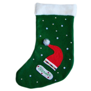 Personalized pet stocking with Santa hat and crystal bling.