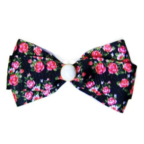 Blooming Roses Dog Hair Bow - Medium to Large Bow - dog-collar-fancy