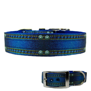 Blue Jean Baby Dog Collar for medium to large dogs