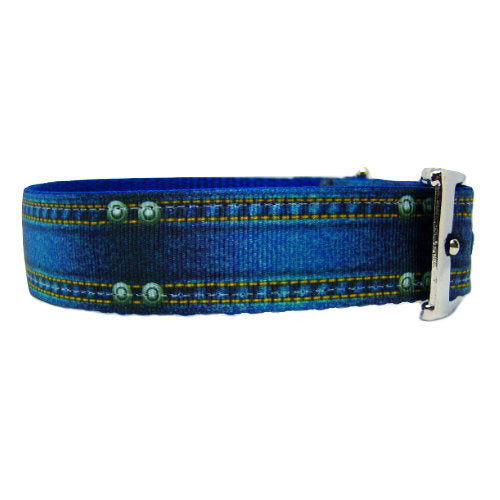 Blue Jean Baby Dog Collar side view