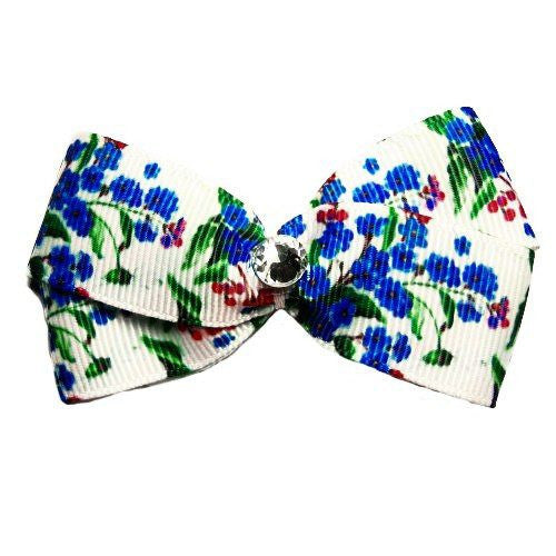 A pretty blue and pink floral hair bow for dogs with center crystal embellishment.