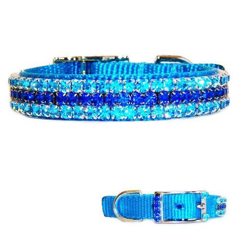 An ice blue pet collar with sapphire and aquamarine crystals.