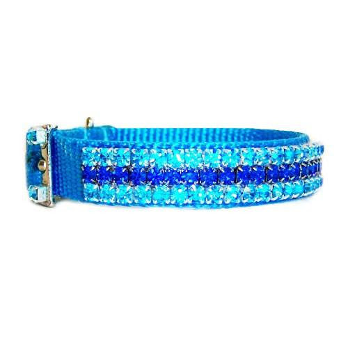 Blue skies crystal jeweled collar side view.