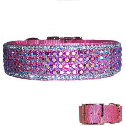 Beautiful designer crystal big dog collar in pink aurora borealis and clear crystals