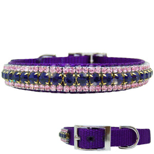 Purple and pink crystal pet collar