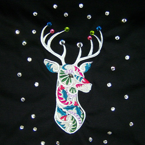 Fancy Reindeer Christmas Dog Shirt with crystals