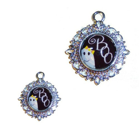 Boo ghost Halloween pet collar charm.