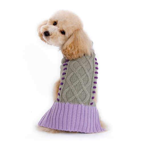 Braided Turtleneck Dog Sweater dog model