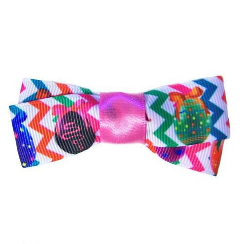 This bright Easter eggs printed dog hair bow is perfect for Easter Sunday.