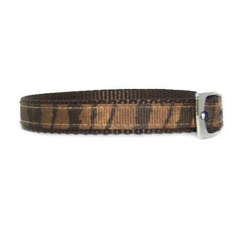 Brown animal prints pet collar side view.