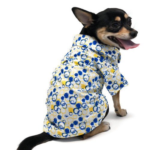 Bubbles print dog shirt back view model dog