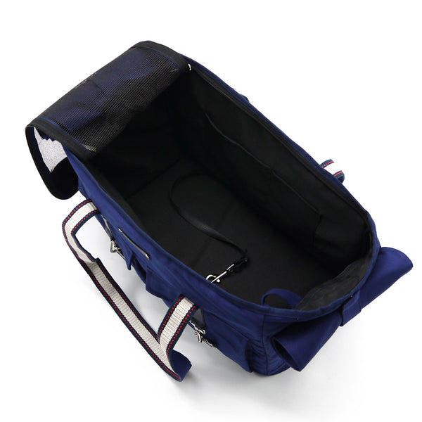 Buckle Style Pet Carrier in Navy inside view