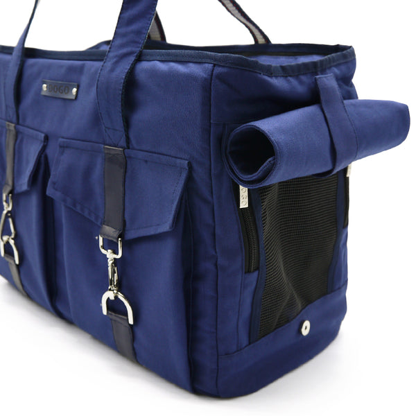 Buckle Style Pet Carrier in Navy roll up side