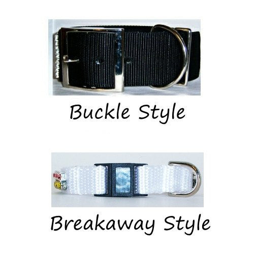 Your choice of metal plated or breakaway safety buckle.