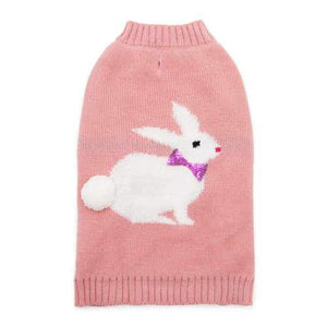 Sweet Bunny dog sweater with bunny tail and bow tie