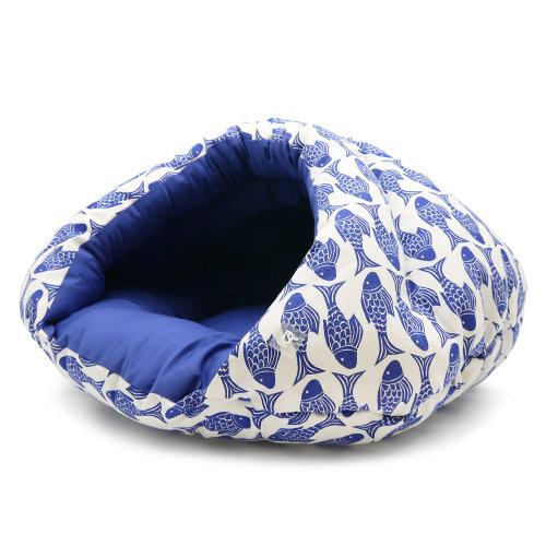 Fish print burger dog bed side view
