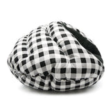 Black checkered burger bed for dogs and cats side view