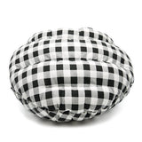 Black checkered burger bed for dogs and cats back view