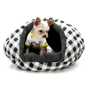 Black checkered burger bed for dogs and cats model dog