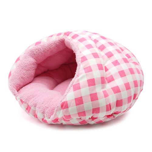 Burger dog bed in pink checkered pattern side open view