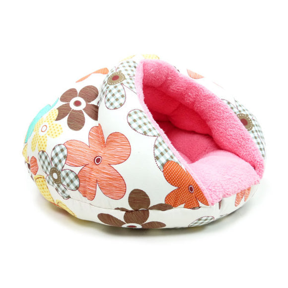 Flower patterned dog bed side view