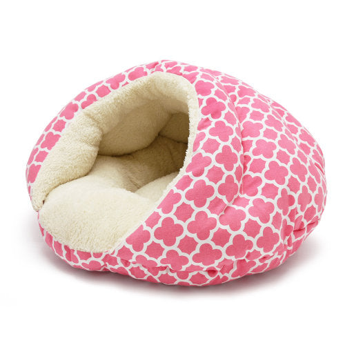 Geo Diamond Pink Dog Bed side view