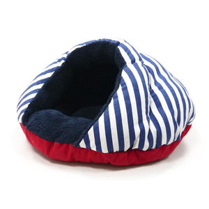 Nautical dog bed in red white and blue
