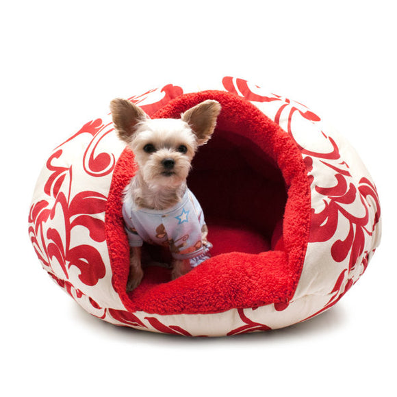 Fancy red floral design pet bed