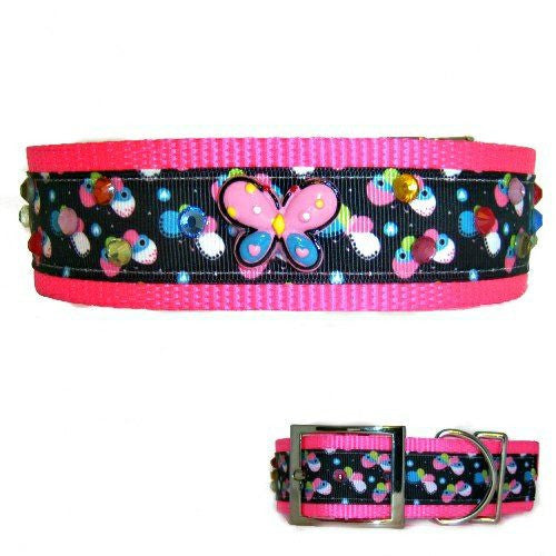 Sparkling Butterflies Large Nylon Dog Collar - For medium to large dogs - dog-collar-fancy