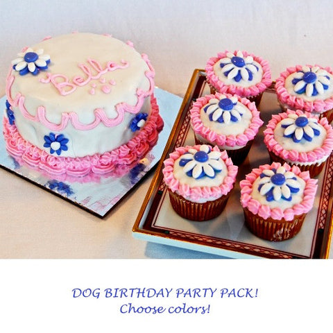 Dog birthday cake and cupcakes party pack.