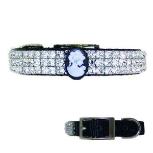 Beautiful crystal cameo pet collar in black with clear crystals.