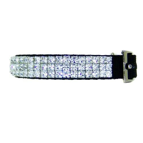 Cameo crystal pet collar side view.