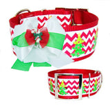 Christmas Candy Cane Dog Bow - For medium to large dogs - dog-collar-fancy