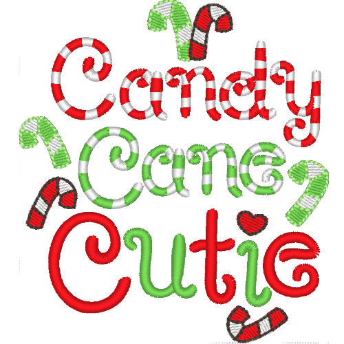 Candy Cane Cutie dog shirt embroidery close up