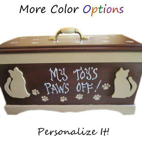 Cat toy box custom made and personalized.