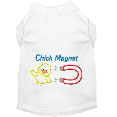 Chick Magnet embroidered dog shirt for small to large dogs.