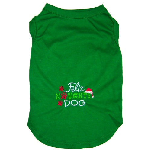 Funny dog shirt for Christmas embroidered with Feliz Naughty Dog