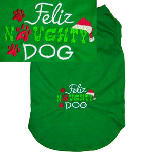 Feliz naughty dog Christmas shirt with santa hat and paws
