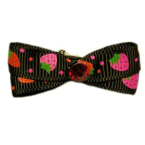 Strawberries printed dog hair bow.