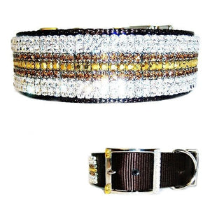 This beautiful large dog collar is made with gold, clear and smokey topaz crystals.