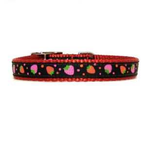An adorable red pet collar with strawberries print for girl dogs and cats.