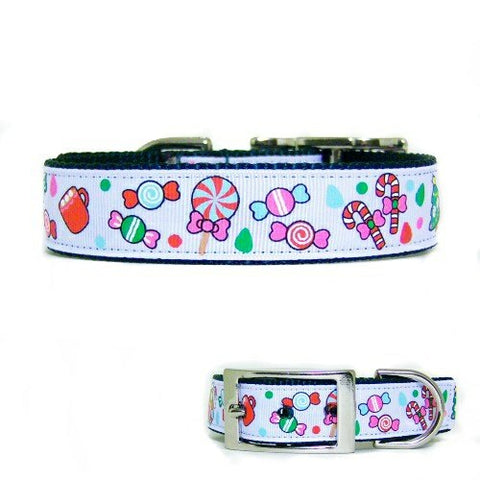 Candy Christmas Dog Collar - For medium to large dogs - dog-collar-fancy