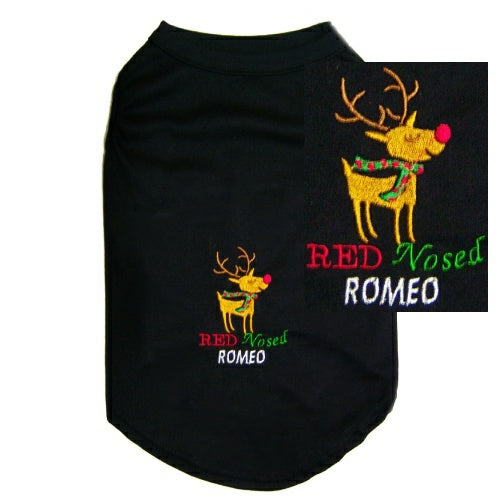 Christmas Dog Shirt - Red Nosed Romeo - Small to Large Dogs - dog-collar-fancy