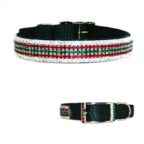 Christmas Holly Crystal Jeweled Dog Collar - For medium to large dogs - dog-collar-fancy