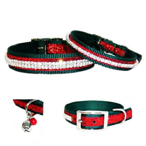 Our Christmas Jingles crystal jeweled pet collar is perfect for the holiday season.