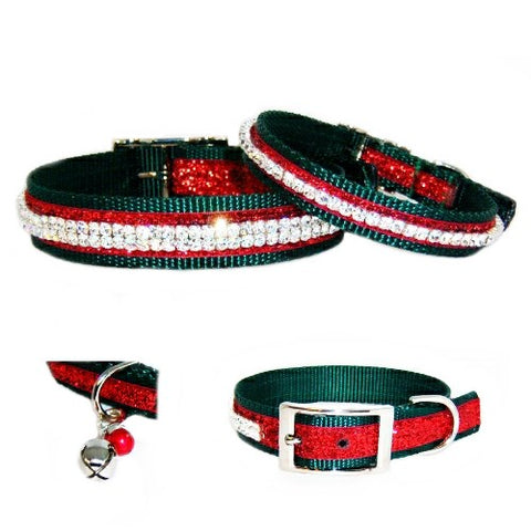 Christmas Jingles Pet Collar with Bells Charm - For dogs and cats - dog-collar-fancy