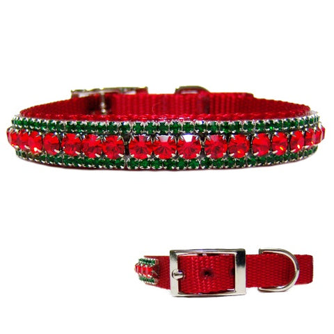 Christmas joy holiday bling pet collar with red and emerald crystals.