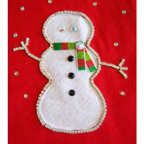 Pet stocking crystal snowman close up.