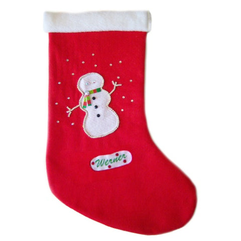 Personalized Christmas pet stocking with crystal snowman for dogs and cats.